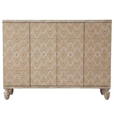 Modern Heavily Distressed Oak 4-Door Credenza