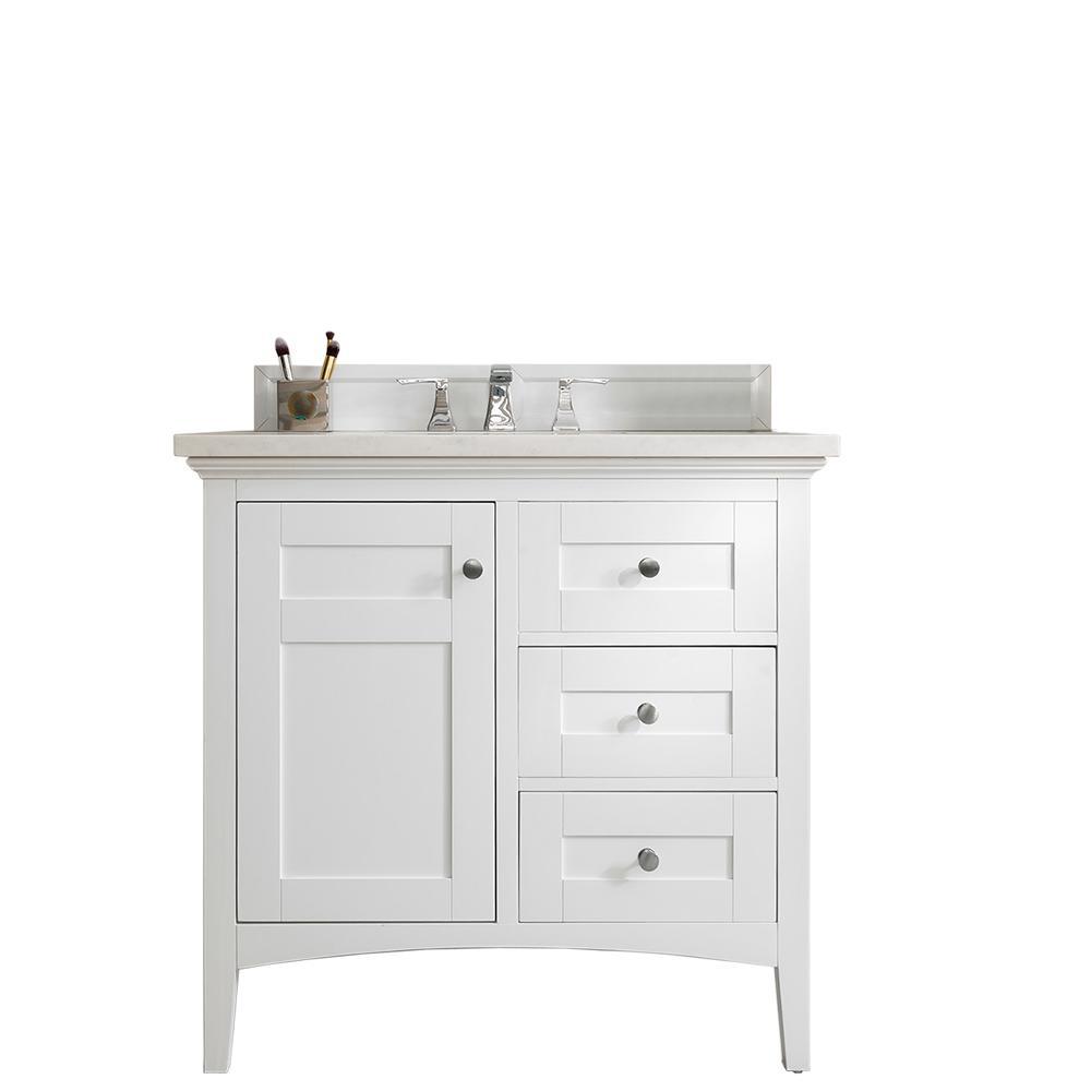 Palisades 36 in. W Single Vanity in Bright White with Marble Vanity Top in Carrara White with White Basin