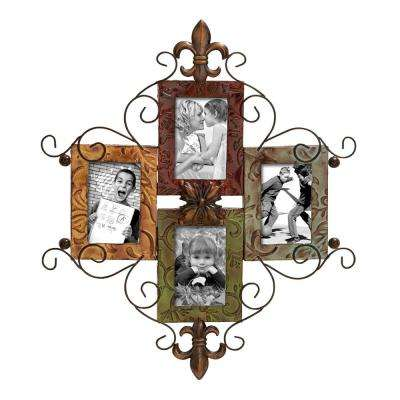 Metal 24 in. x 21 in. Brown Photo Frame Wall Decor