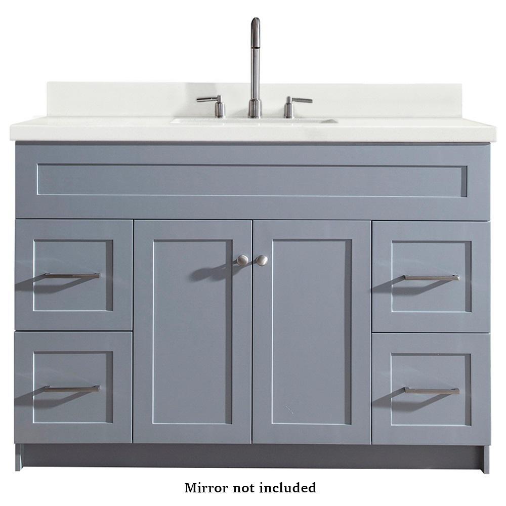 Ariel Hamlet 49 in. Bath Vanity in Grey with Quartz Vanity Top in White with White Basin