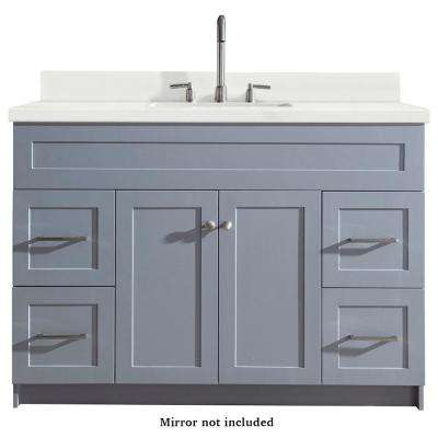 Hamlet 49 in. Bath Vanity in Grey with Quartz Vanity Top in White with White Basin