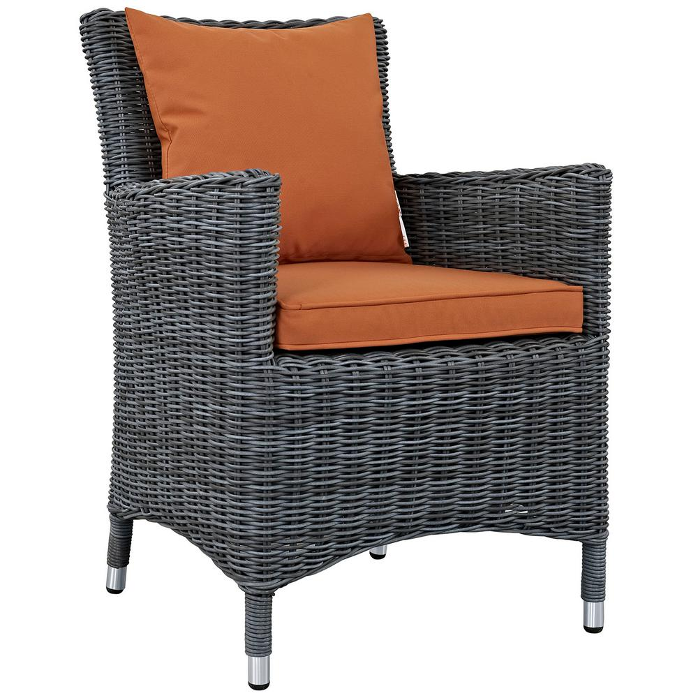 MODWAY Summon Patio Wicker Outdoor Dining Chair with Sunbrella Canvas  Tuscan Cushions - MODWAY Summon Patio Wicker Outdoor Dining Chair With Sunbrella