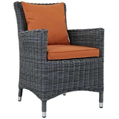 Summon Patio Wicker Outdoor Dining Chair with Sunbrella Canvas Tuscan Cushions