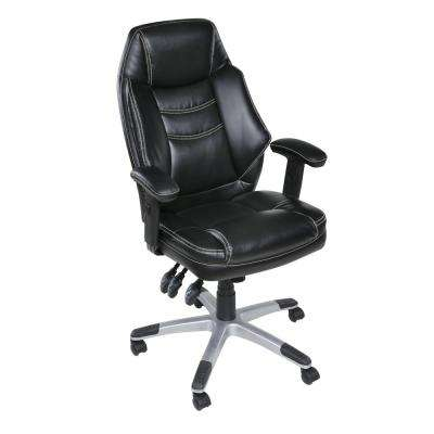 Jefferson Black Plush Executive Chair with Adjustable Padded Armrests