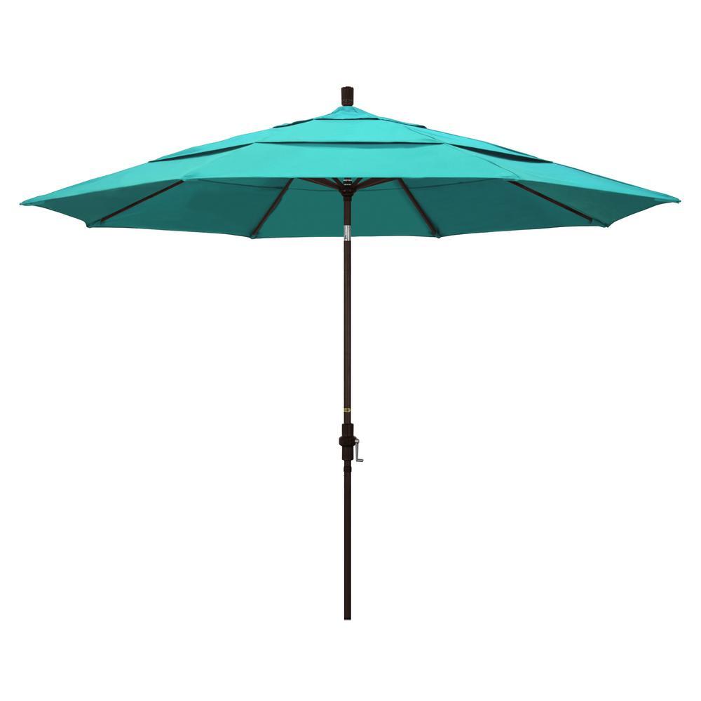 11 ft. Bronze Aluminum Market Patio Umbrella with Crank Lift in Aruba Sunbrella