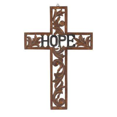 18 in. x 12 in. Natural Wood Hope Wall Cross
