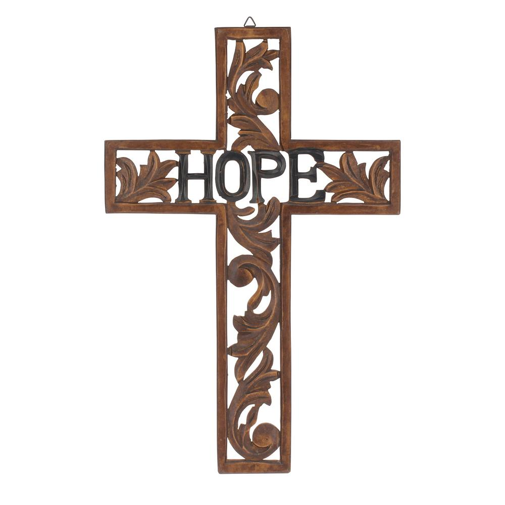 Stonebriar collection 18 in x 12 in natural wood hope wall cross stonebriar collection 18 in x 12 in natural wood hope wall cross sb 5740a the home depot amipublicfo Image collections