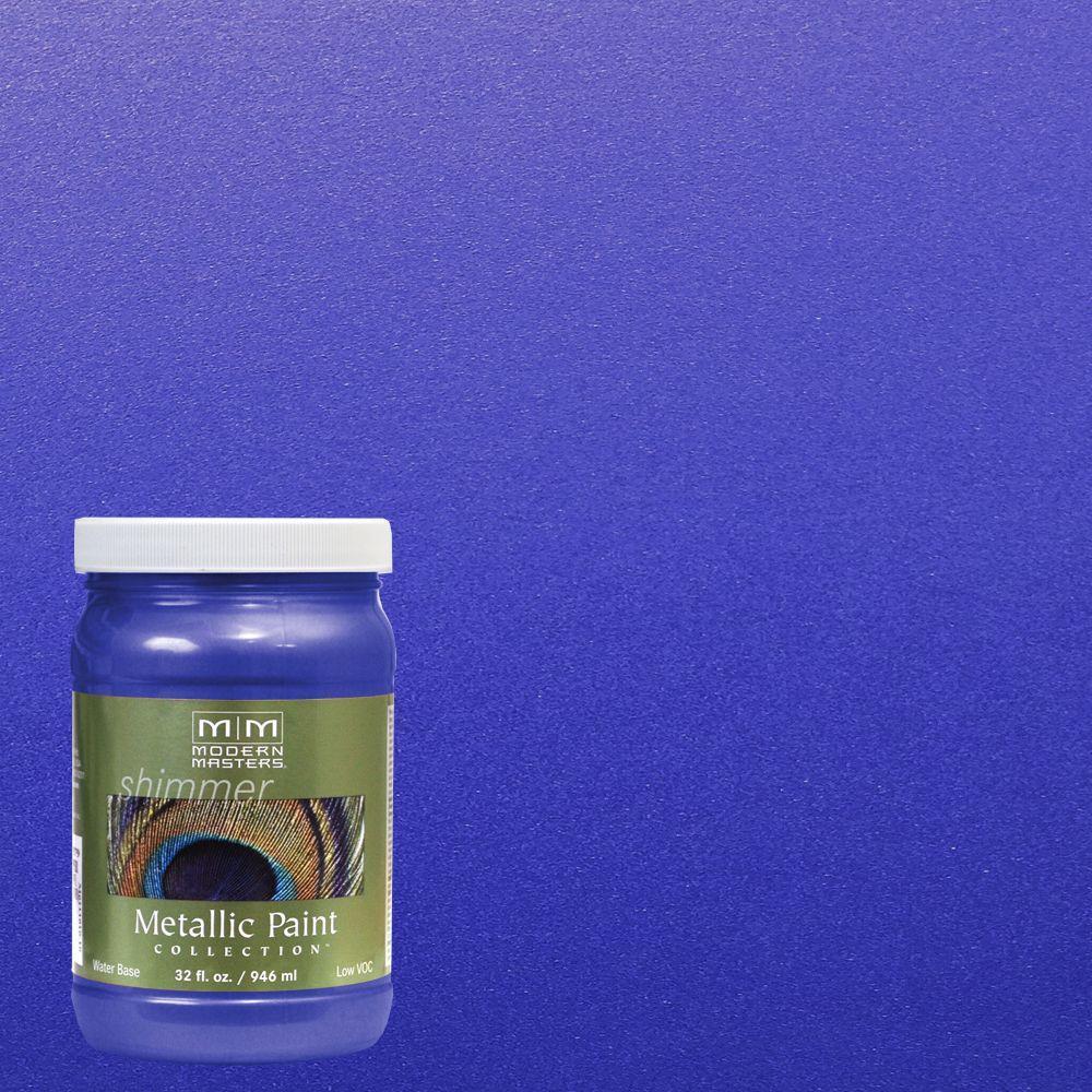 Modern masters 1 qt venetian blue metallic interior - Metallic blue interior wall paint ...