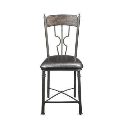 LynLee Espresso PU and Dark Bronze Counter Height Chair (Set of 2)