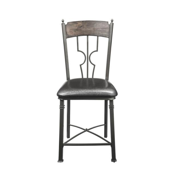 Acme Furniture LynLee Espresso PU and Dark Bronze Counter Height Chair