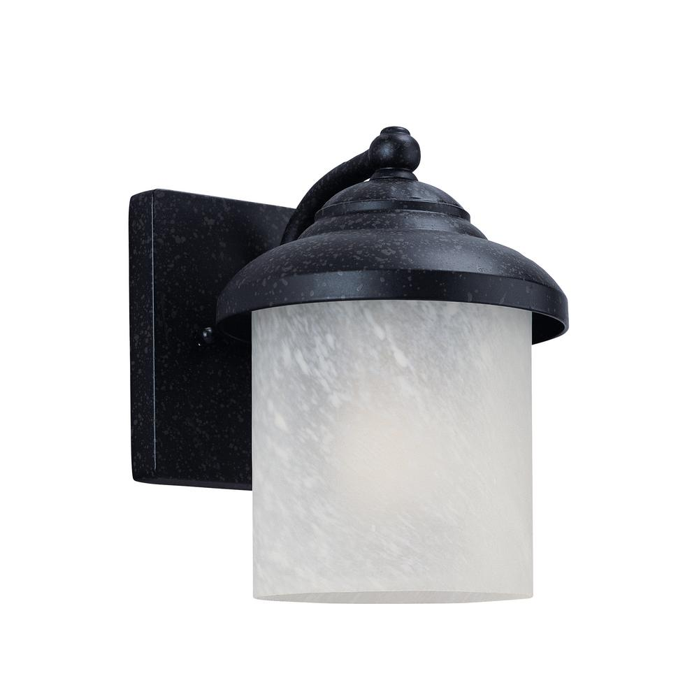 Yorktown 1-Light Forged Iron Outdoor Wall Mount Lantern with LED Bulb