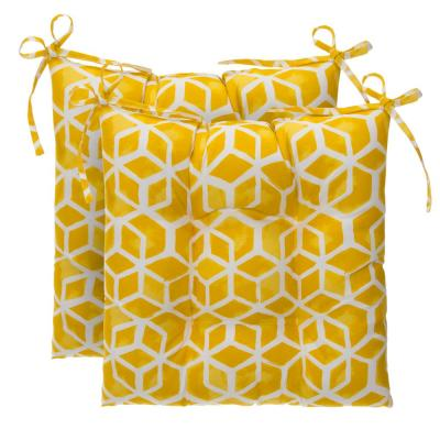 Cubed Yellow Rectangle Outdoor Tufted Seat Cushion (2-Pack)