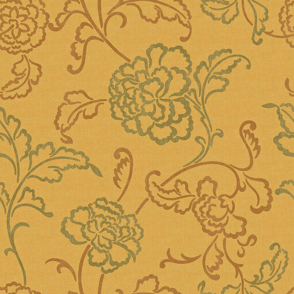 null 56 sq. ft. Yellow, Ochre and Green Contemporary Linear Floral Wallpaper-DISCONTINUED