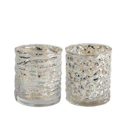 Evora 3.75 in. H Short Mercury Glass Candle Holder (Set of 2)