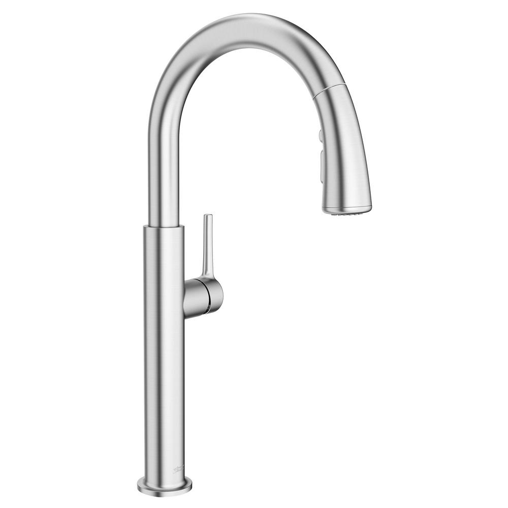 AmericanStandard American Standard Studio S Single-Handle Pull-Down Sprayer Kitchen Faucet with Dual Spray in Stainless Steel, Silver