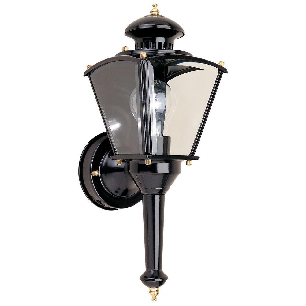 Black Motion-Sensing Outdoor Wall Lantern