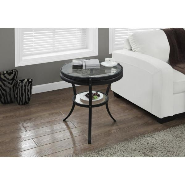 Black End Table with Tempered Glass HD2140