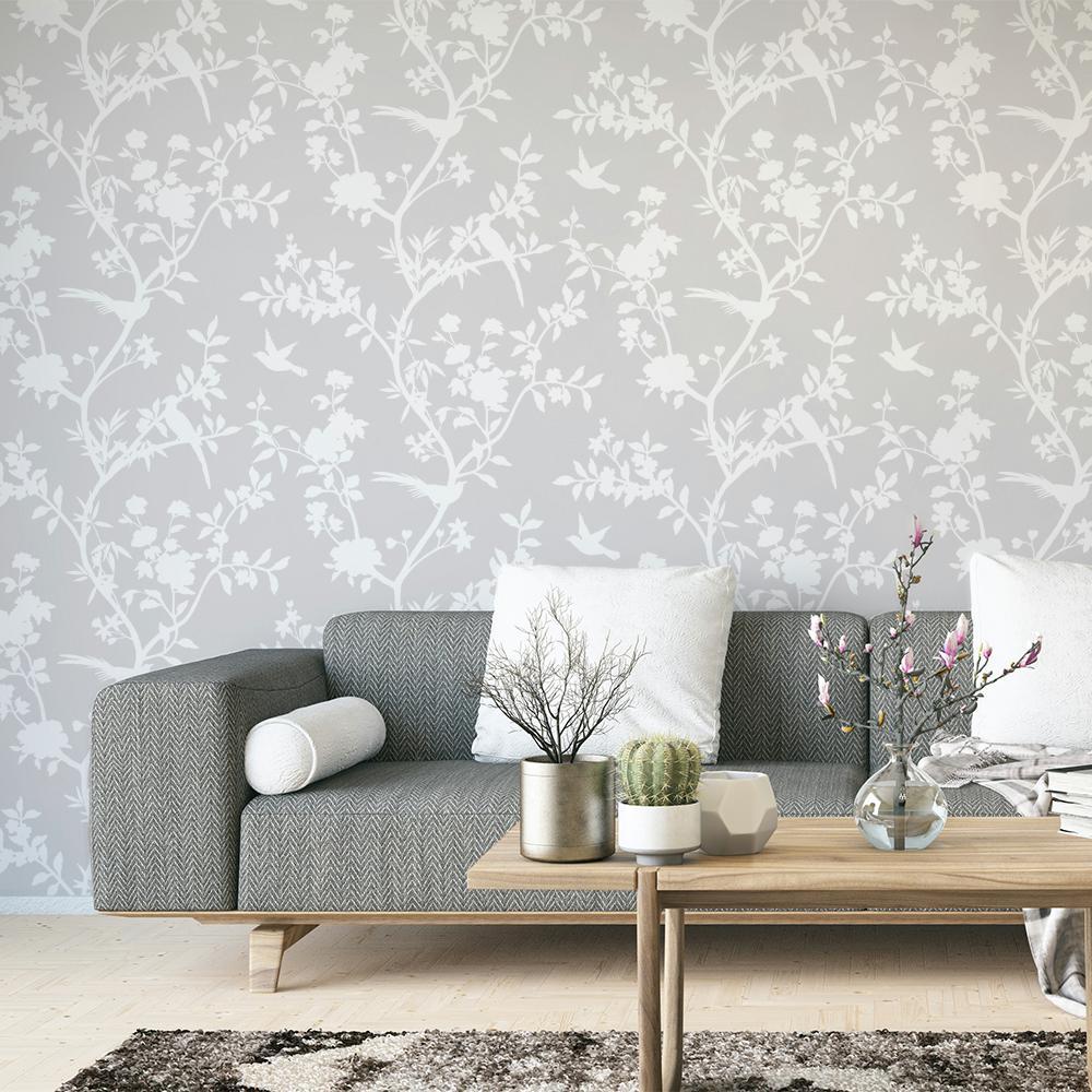 Garden Affair Classic Grey Self-Adhesive Removable Wallpaper