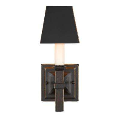 Bradley 1 Light Cordoban Bronze Sconce With Black Metal Shade