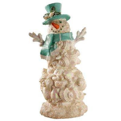 11 in. Polyresin Snowman with Blue Carf and Hat
