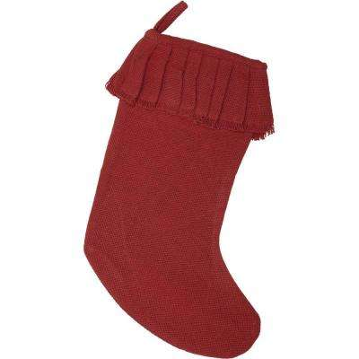 15 in. 100% Cotton Red Festive Burlap Farmhouse Christmas Decor Ruffled Stocking