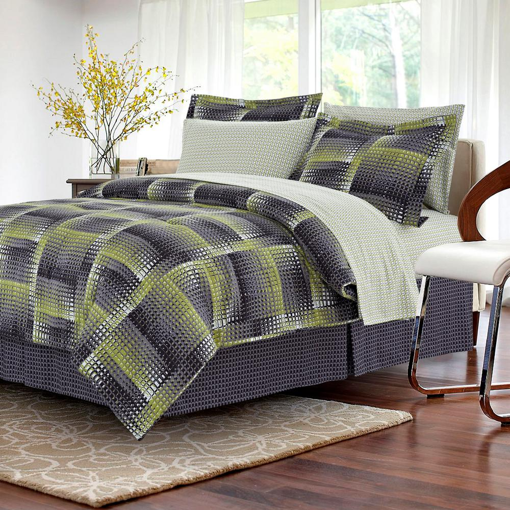 Brown & Grey Shadow Box Lime 8-Piece Full Bed-in-Bag Set