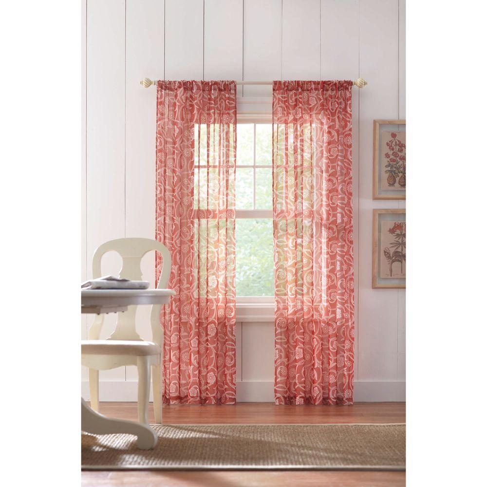 Home Decorators Collection Sheer Terracotta Rod Pocket Printed Sheer Curtain 52 In W X 84 In
