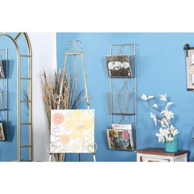 Gold 3-Tier Tree Branch Magazine Rack