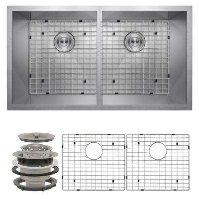Handcrafted All-in-One Undermount Stainless Steel 32 in. x 18 in. x 9 in. Double Bowl Kitchen Sink