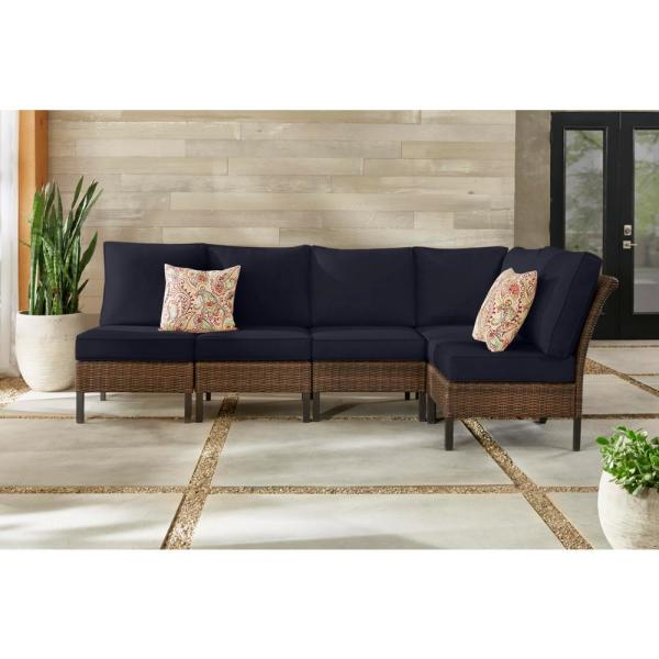 Harper Creek 6-Piece Brown Steel Outdoor Patio Sectional Sofa Seating Set with CushionGuard Midnight Navy Blue Cushions