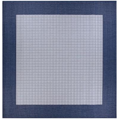 Recife Checkered Field Ivory-Indigo 8 ft. x 8 ft. Square Indoor/Outdoor Area Rug