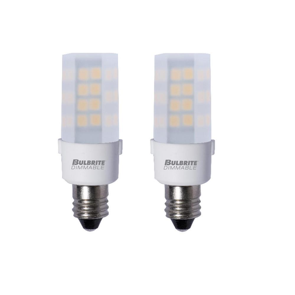 35-Watt Equivalent T4 Dimmable Candelabra LED Light Bulb Soft White Light (2-Pack)