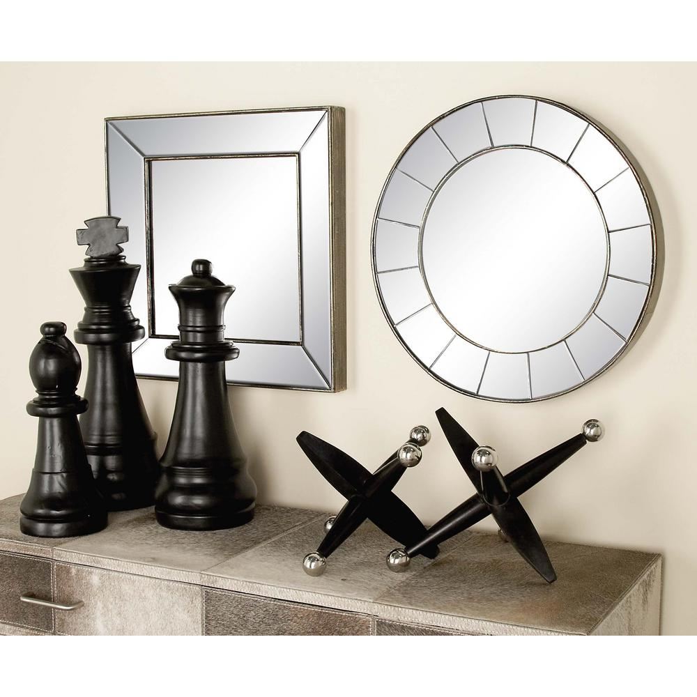 Litton Lane 3 Piece New Traditional Frameless Illusion Wall Mirror