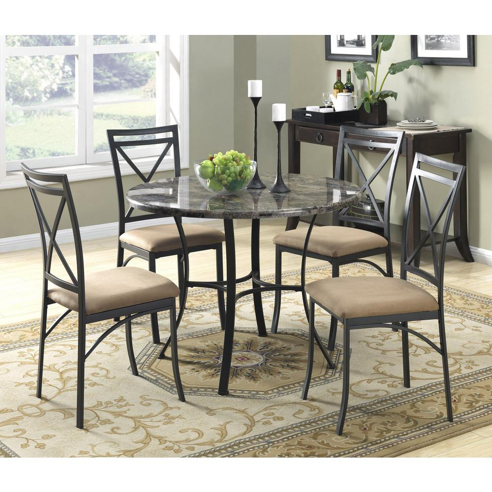 Dorel Living Black Coffee Faux Marble Top Dining Room Set (5 Piece)