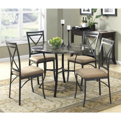 Black Coffee Faux Marble Top Dining Room Set (5-Piece)
