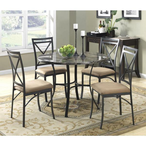 Dorel Living Black Coffee Faux Marble Top Dining Room Set 5 Piece Fa3669 The Home Depot