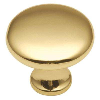 Conquest Collection 1-1/8 in. Dia Polished Brass Finish Cabinet Door and Drawer Knob (25-Pack)