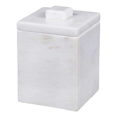 Natural Marble Cotton Ball Holder in Off-White