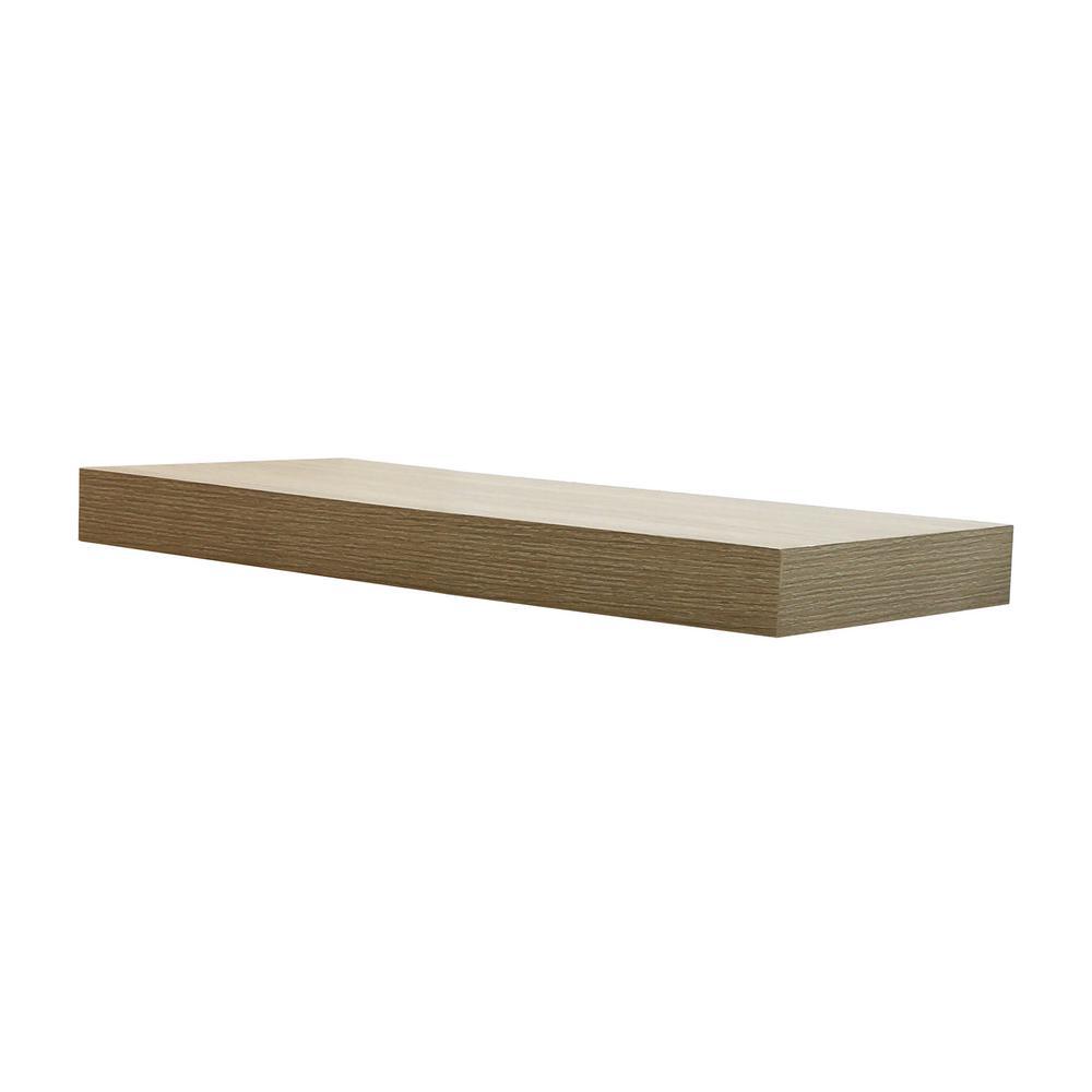 23.6 in. W x 10.2 in. D x 2 in H Driftwood Gray Oak Floating Shelf