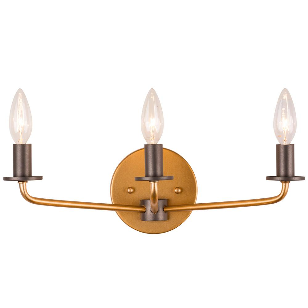 Varaluz Jake 3-Light Antique Gold with Rustic Bronze Bath Light ...