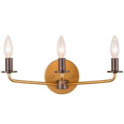 Jake 3-Light Antique Gold with Rustic Bronze Bath Light