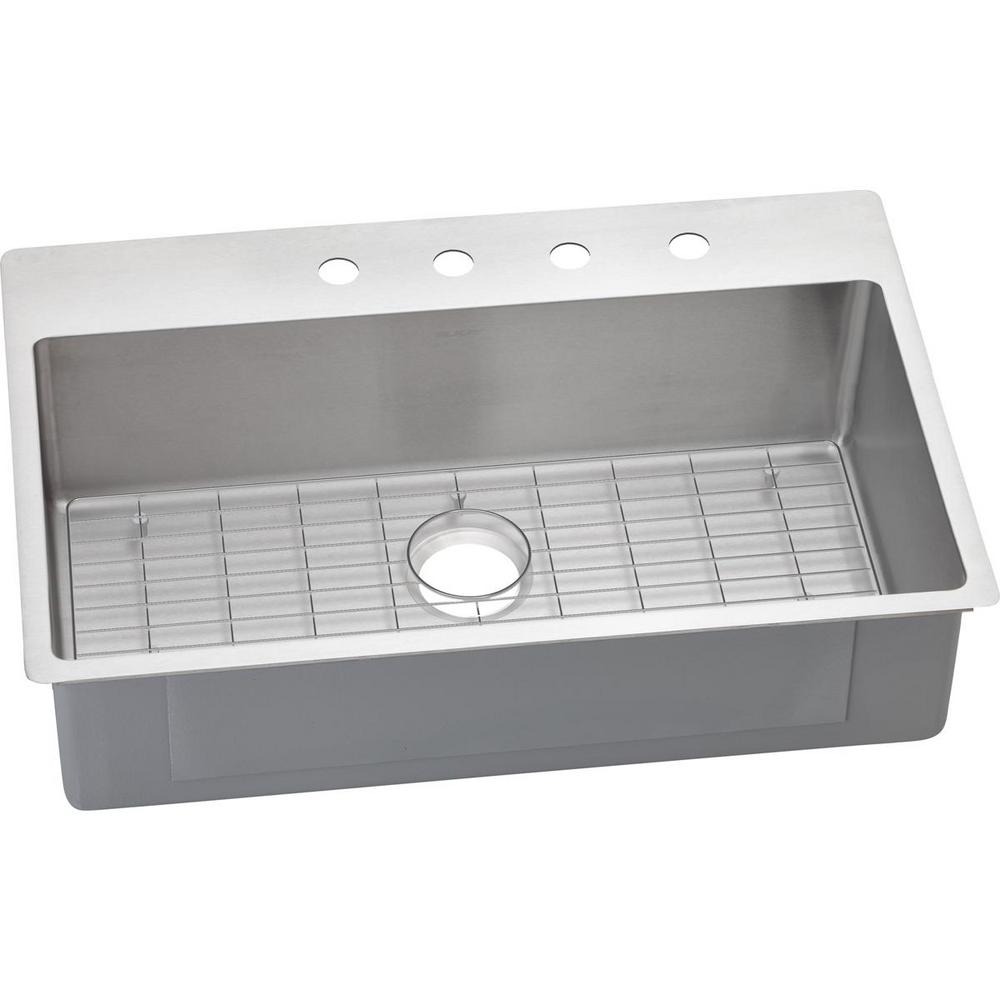 Crosstown Dual Mount Stainless Steel 33 in. 4-Hole Single Bowl Kitchen