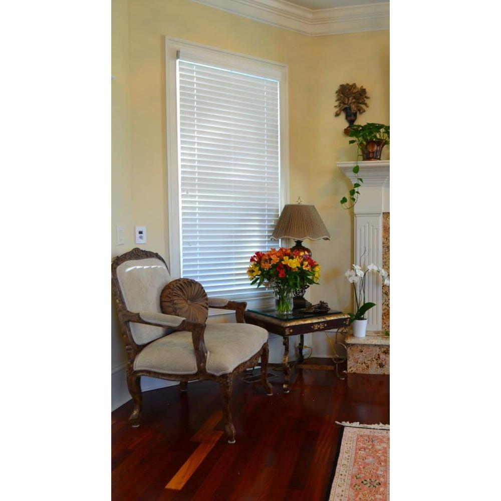 Blinds By Noon Snow White 2 in. Faux Wood Blind - 56.5 in. W x 74 in. L (Actual Size 56 in. W 74 in. L )