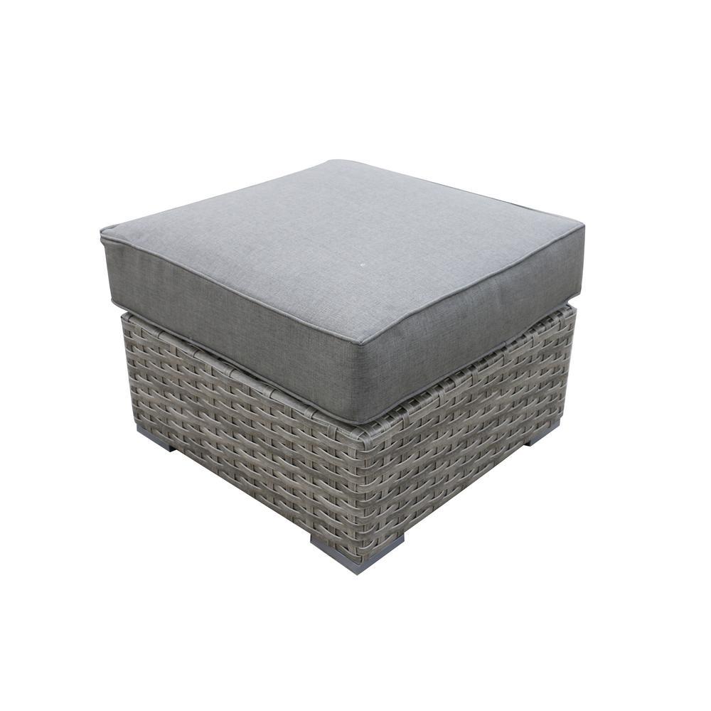 Bali Patio Aluminum Outdoor Ottoman with Olefin Charcoal Grey Cushions