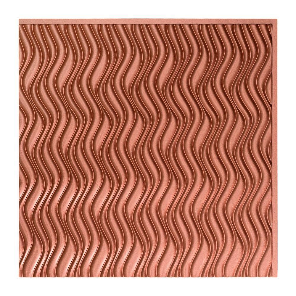 Current Vertical - 2 ft. x 2 ft. Glue-up Ceiling Tile in Argent Copper