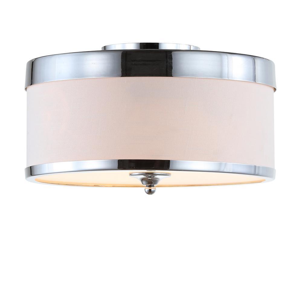 David  Chrome/White 15 in. Metal LED Flushmount