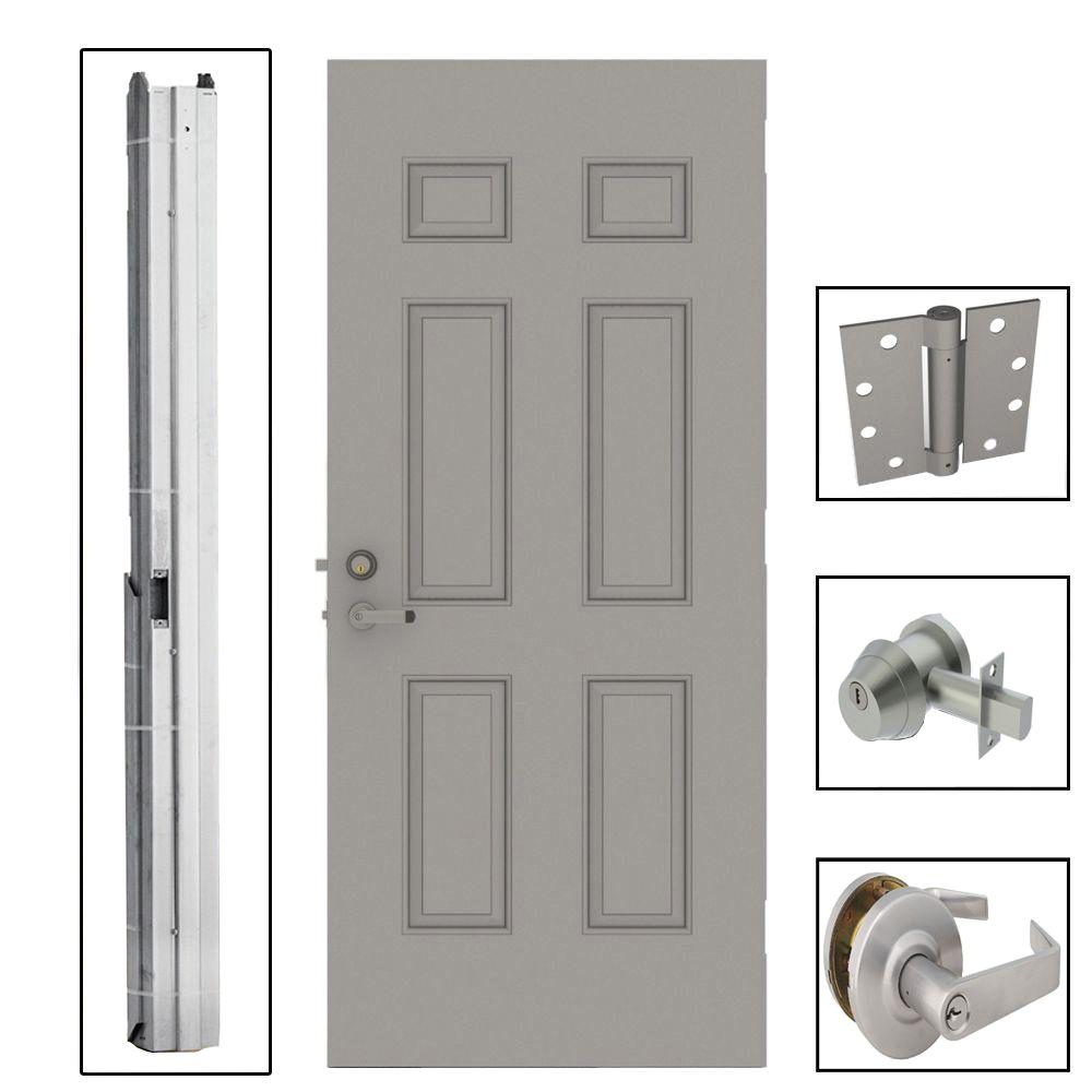 36 in. x 80 in. 6-Panel Steel Gray Security Commercial Door