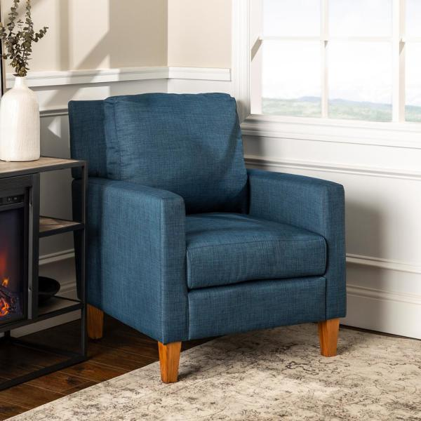 Walker Edison Furniture Company Blue Pillow Back Accent Chair