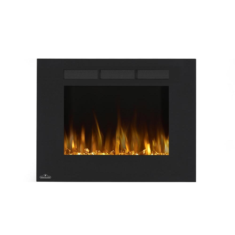 napoleon 32 in wall mount linear electric fireplace in black