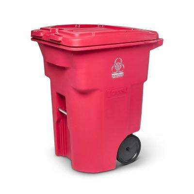 96 Gal. Red Hazardous Waste Trash Can with Wheels and Lid Lock